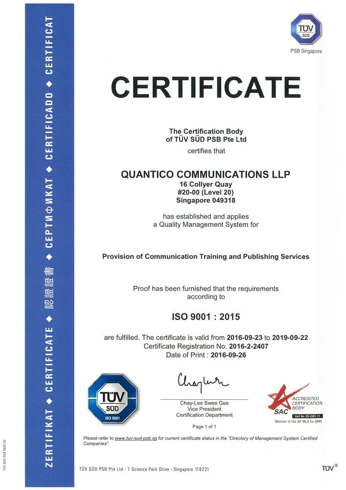 Quantico Copywriting Course Singapore's ISO 9001:2015 certification to conduct courses and publish training material.