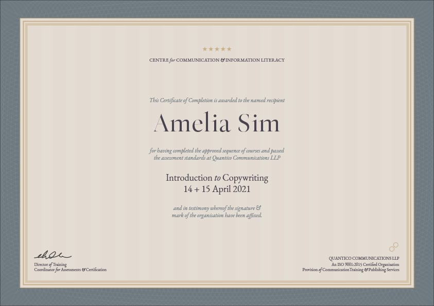 Copywriting course Singapore certificate of completion sample.